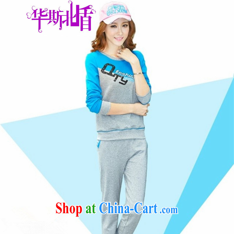 201 autumn new round-collar long-sleeved shirt T trousers casual wear stitching stylish package Lake blue XXL