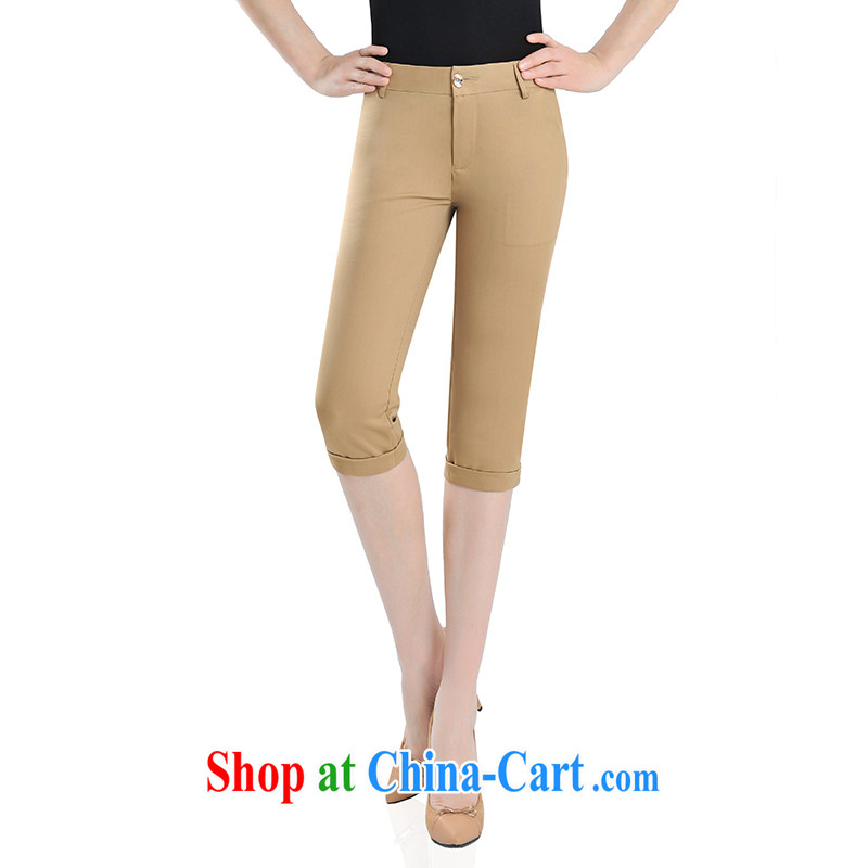 JK .,200 thick sister larger female spring new stylish beauty graphics thin solid 7 pants pants 0502 earth 5 XL