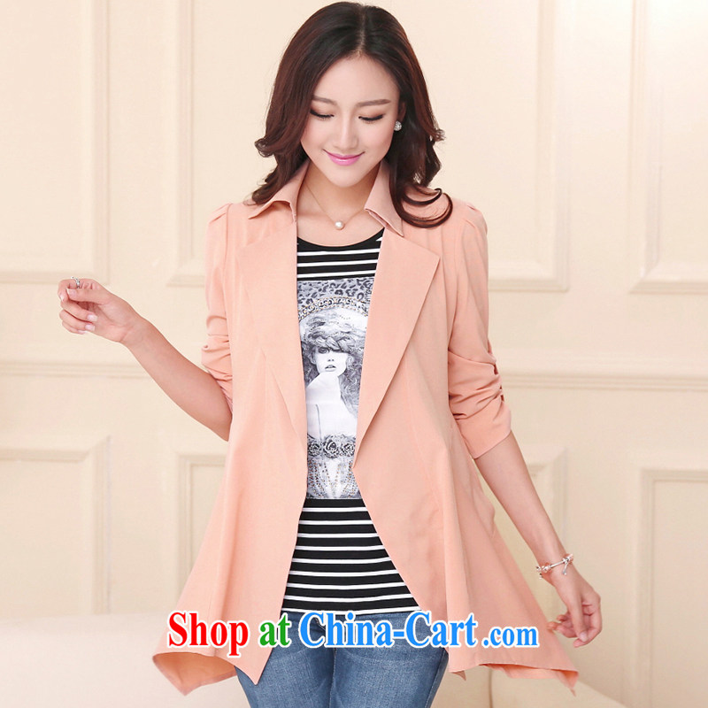 JK .,200 Spring and Autumn new larger women mm thick cardigan, long, female early autumn wind long-sleeved jacket WC 1430001 pink 3XL