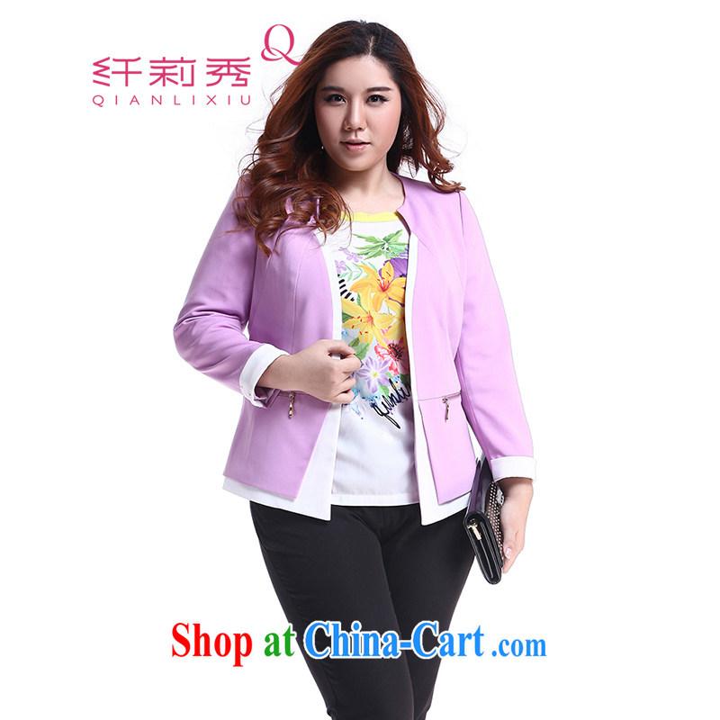 Slim Li-su 2014 autumn New, and indeed increase, female fat mm commuter chestnut cuff knocked color jacket Q 5766 purple L