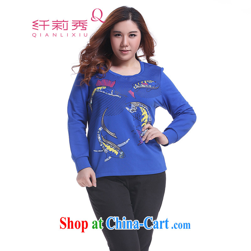 Slim Li-su fall 2014 with new XL girls thick mm round-collar fish-stamp manually, and Yi, who Q 5780 color blue L