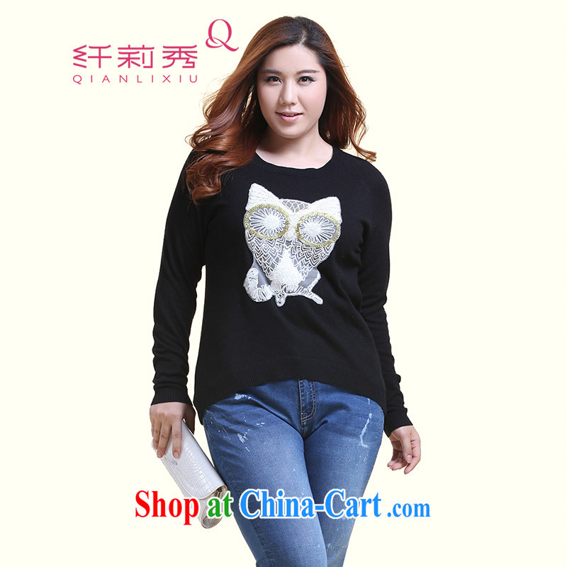 Slim LI Sau 2014 autumn new XL female owl three-dimensional embroidery is not rules, with knitted sweaters Q 5818 black XXL