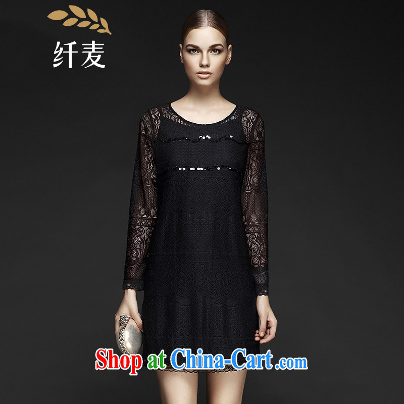 The wheat high-end large Code women fall 2014 new, mm thick, two-piece dresses black 2 XL