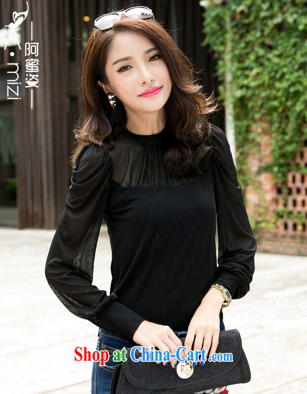 The honey and diverse the Code women mm thick new Autumn with Korean perspective Web yarn black long-sleeved shirt solid Web yarn T pension 9042 black XXL