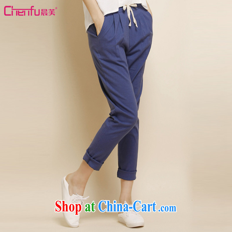 Morning would be 2015 spring new Korean version is indeed the XL women mm thick loose ground on 100 linen trousers pants graphics thin, Trouser Press castor pants cotton pants the cowboy blue 4XL (155 - 170 ) jack