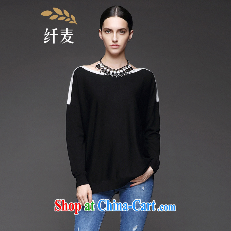The wheat high-end large Code women autumn 2014 the new thick mm Lok shoulder cuff black-and-white spell sweater 843132118 black XL
