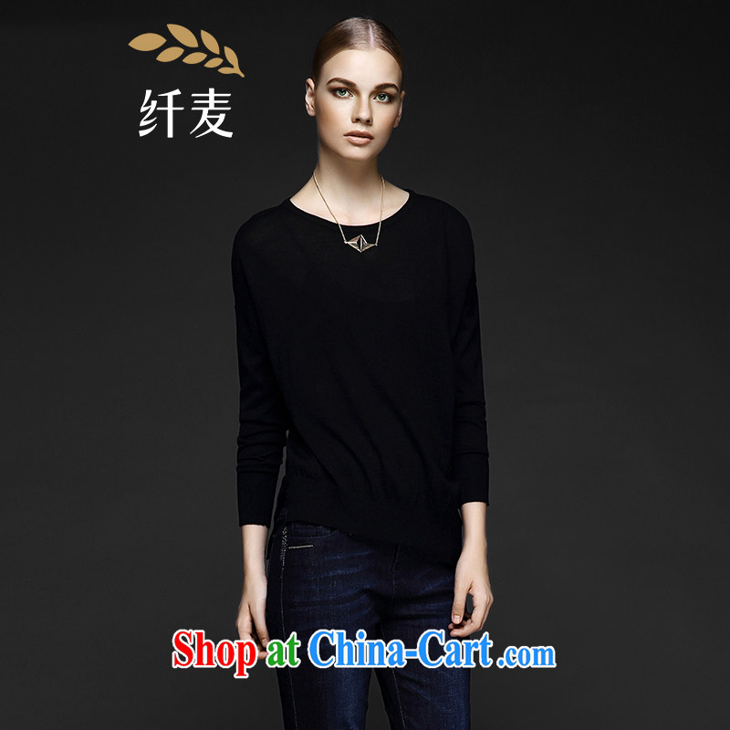 The wheat high-end large Code women fall 2014 with new thick mm beauty aura long-sleeved sweater 843132120 black 3 XL