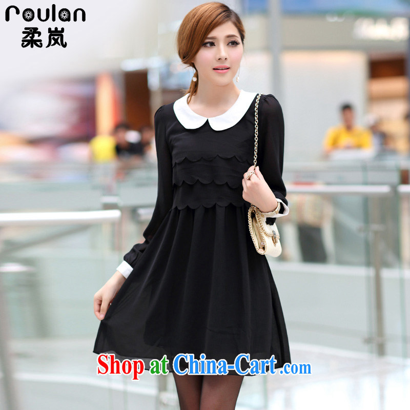 Sophie sponsors 2015 spring and summer with new women's clothing new explosions, Korea and indeed XL girls doll for long-sleeved video thin ice woven dresses women 2657 black 5 XL