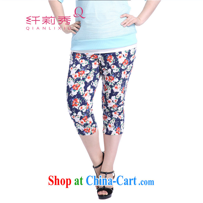 Slim LI Sau 2014 summer new XL women mm thick beauty flower pattern stamp duty castor pants 7 pants Q 5057 blue XXXXXL