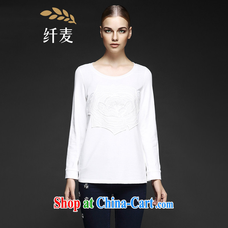 The wheat high-end large Code women fall 2014 with new expertise in Europe and America mm flower embroidery cultivating T pension 843153809 white 6 XL