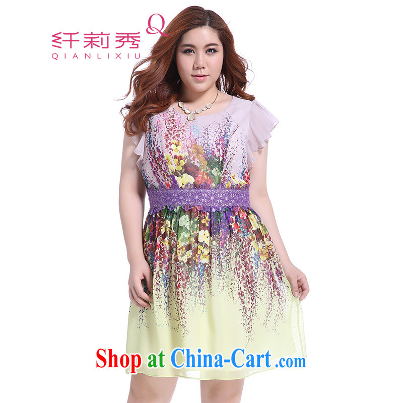 Slim Li Hsiu-summer new XL girls thick mm video thin oil painting stamp lace snow woven dresses Q 5727 yellow XXXL