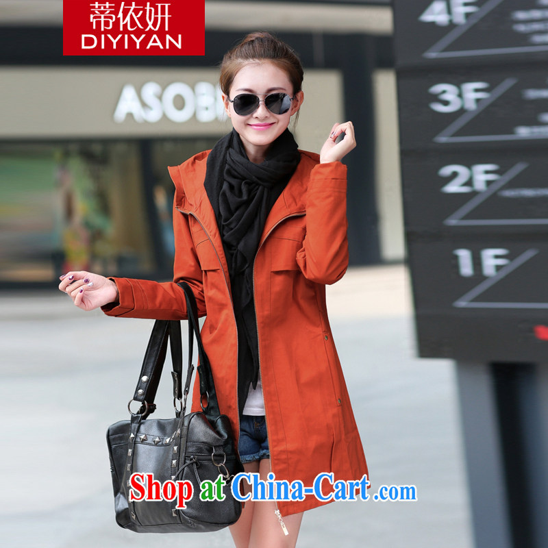 In accordance with his large figure skating, women 2015 new spring loaded wind Yi Korean fashion cap leisure cultivating larger jacket D 74,608 orange XXXL