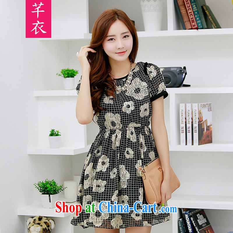 Constitution and clothing increased, female casual dress 2015 thick sister new tartan flowers cut flowers fashion style dress with elastic band for a video thin lady short skirt black L