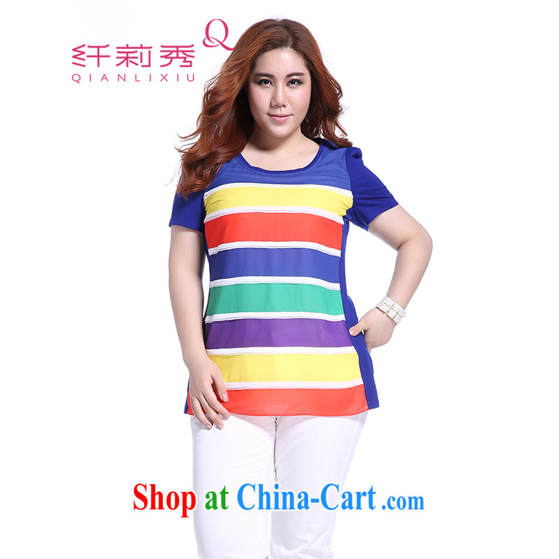 Slim Li Hsiu-summer new XL female graphics thin knocked color Rainbow snow streaks woven stitching 100 ground T pension Q 5195 blue XL
