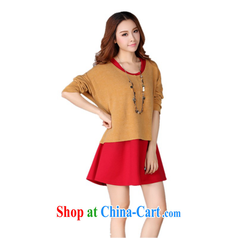 The delivery package mail as soon as possible, focusing on girls XL two-piece dresses bat long-sleeved T-shirt knit vest skirt solid red, solid red 4 XL approximately 165 - 180 jack