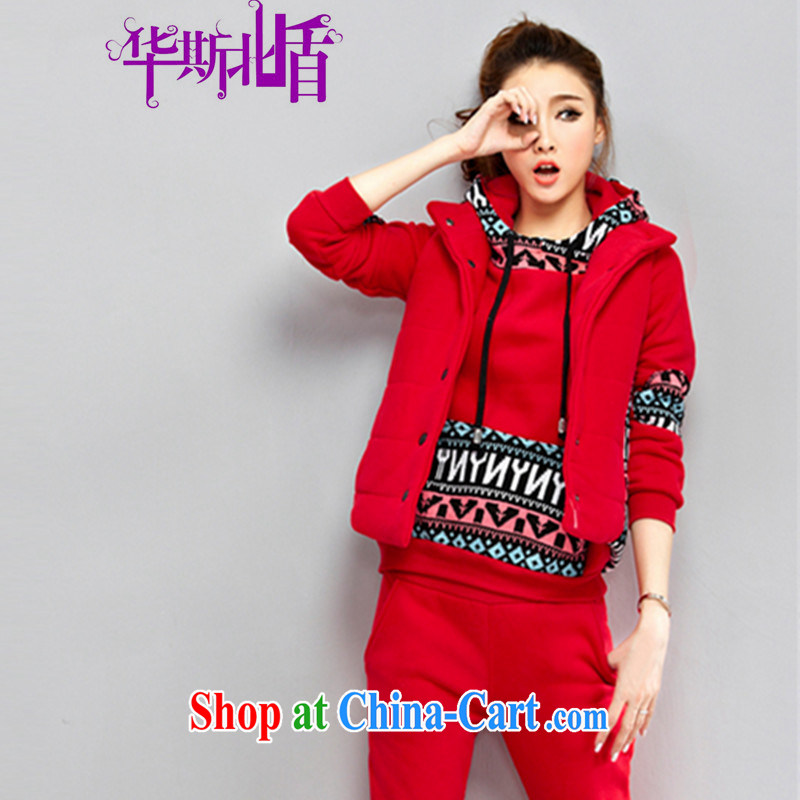 2014 fall and winter new jacket, the lint-free cloth thick sweater Kit female casual female Korean version the code sweater 3-Piece red XXL
