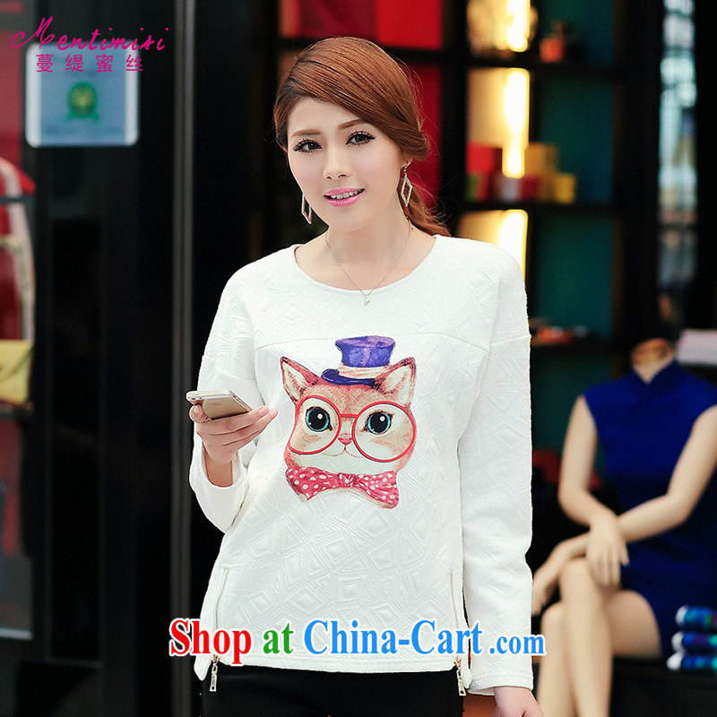 Mephidross has long honey, Autumn 2014 the new Korean version thick sister larger female cartoon long-sleeved shirt T girls T-shirt 1701 large white code 5 XL