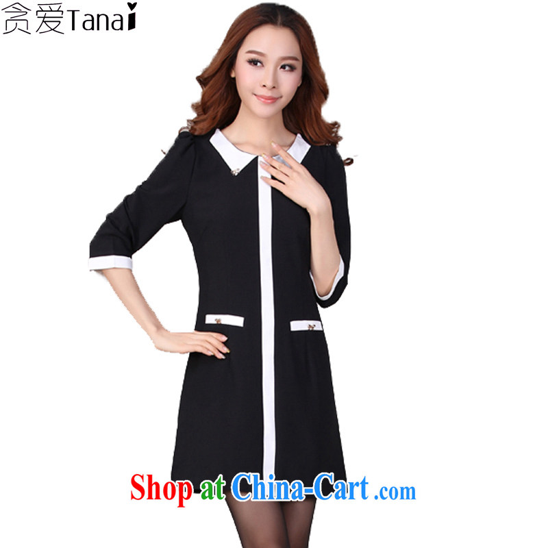 Loved spring new Korean professional graphics thin 7 cuff thick MM larger women's clothing dresses 105 XXXL