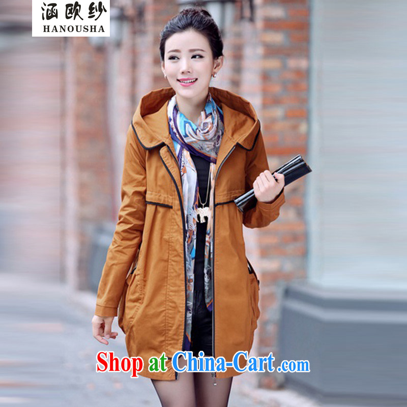 Covering the yarn thick sister loose video thin, long, wind jacket 2015 spring loaded new larger wind jacket, older Korean women jacket tanned XXXL