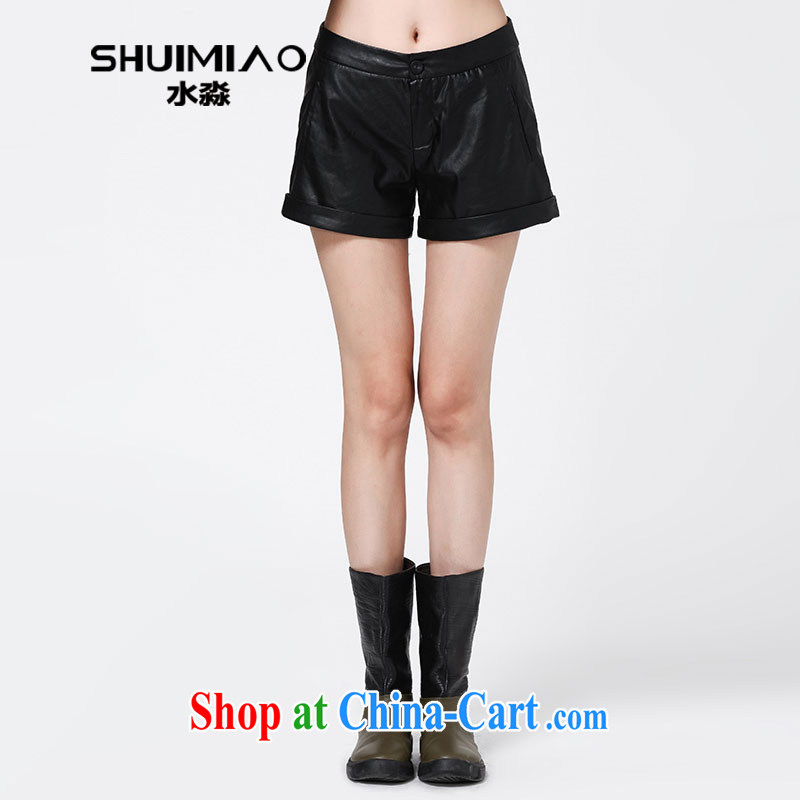 Water with larger graphics Thin women mm thick shorts fall 2014 with new PU street solid hot pants S QT 14 3542 carbon black L
