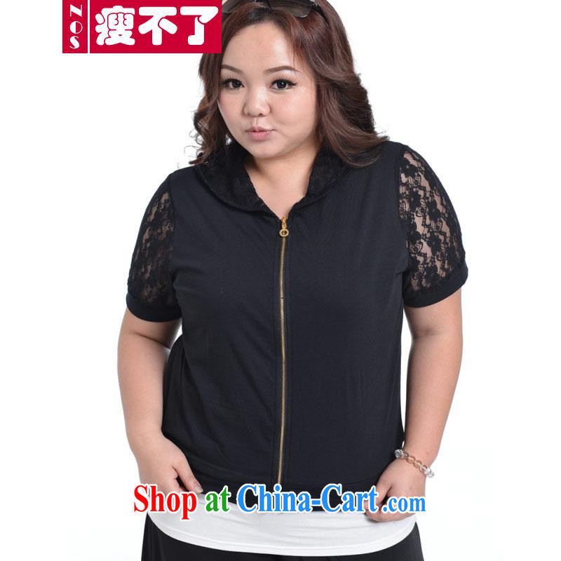 The NOS code female fat people lace sunscreen breathable 100 ground graphics thin short-sleeve lapel cardigan casual jacket A 5511 black 4XL 180 - 210 jack