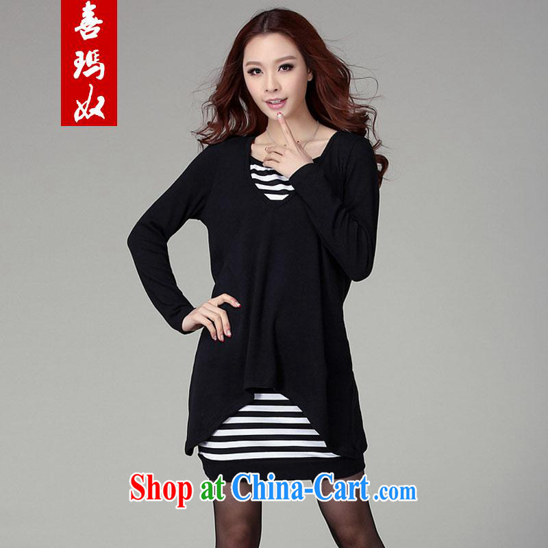 Hi Margaret slavery, long, large, female bat sleeves cotton striped long-sleeved two-piece strap dresses Y 20,049 Black Large Number 4 XL 200 Jack the following