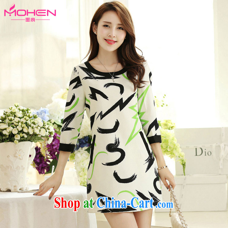 The ink marks spring 2015 the new Korean version of the greater code dress dresses 200 Jack thick MM 7 collision cuff color stamp beauty graphics thin dresses black ribbed 4 XL (suitable for 165 - 180 jack)