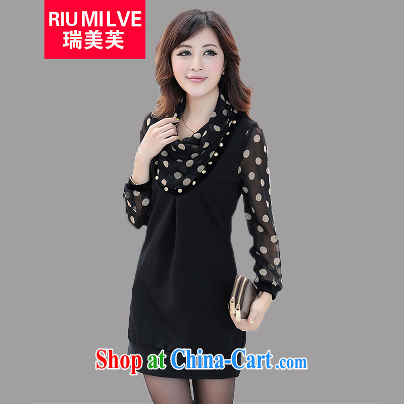 Ryan and the United States concluded the Code women 2015 spring and summer new the FAT and FAT people graphics thin wave point snow woven stitching beauty dress 3070 black L _110 jack - 120 Jack through_