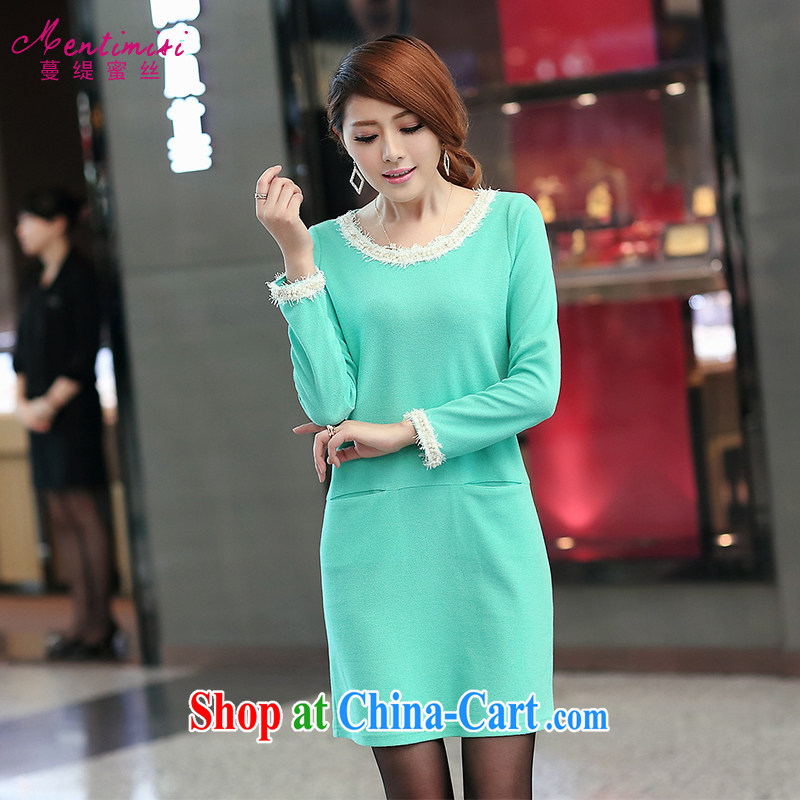 Mephidross has long honey, Autumn 2014 the new, larger female Korean autumn replace the FAT and FAT mm style long-sleeved video thin pencil skirt dress 2697 green code 5 XL