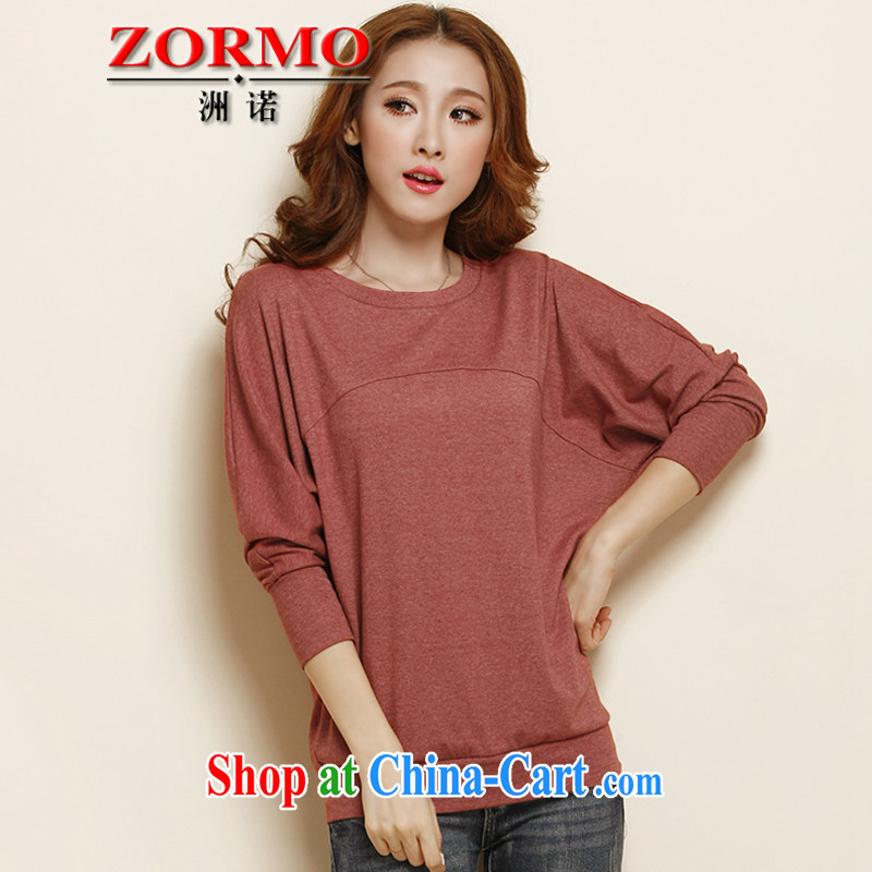 ZORMO Korean female autumn and winter, bat sleeves with the code Solid T-shirt thick mm and indeed XL T-shirt rusty red 5 XL
