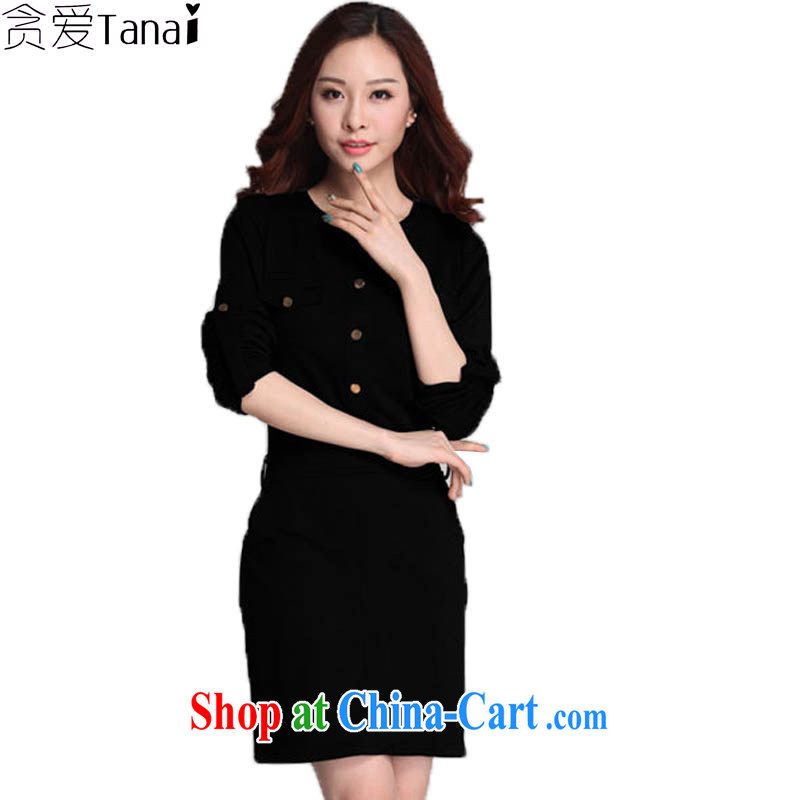 loved the Code women's clothing spring graphics thin, in long, pull long-sleeved thick MM King code dress 3571 black XXXXL