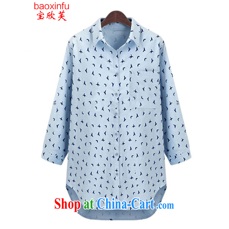 2015 Baoxinfu in Europe and America, the girl with the FAT XL mm thick loose stamp small pattern long floral shirt 5812 light blue XL