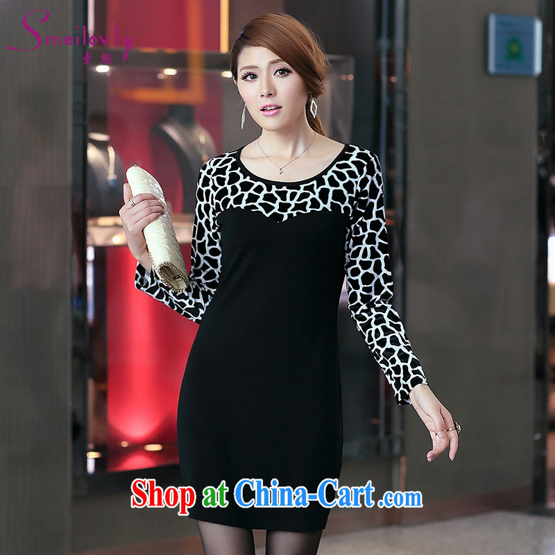 Staff of the fertilizer XL female 200 Jack mm thick autumn 2014 the Leopard long-sleeved video thin pencil skirt further dresses S 2700 black 3 XL