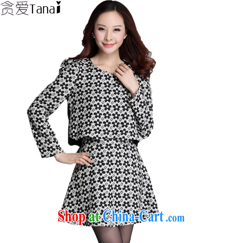 Loved autumn and winter clothing new thick NPC code female graphics thin, Korean version thick MM two-piece is a dress 3572 black-and-white XXXXL