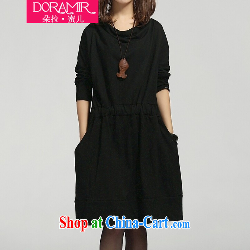 Dora, honey Child Care 2015 spring new female Korean version of the greater, pregnant women with thick MM elasticated waist long-sleeved dresses 20408002 black XXL