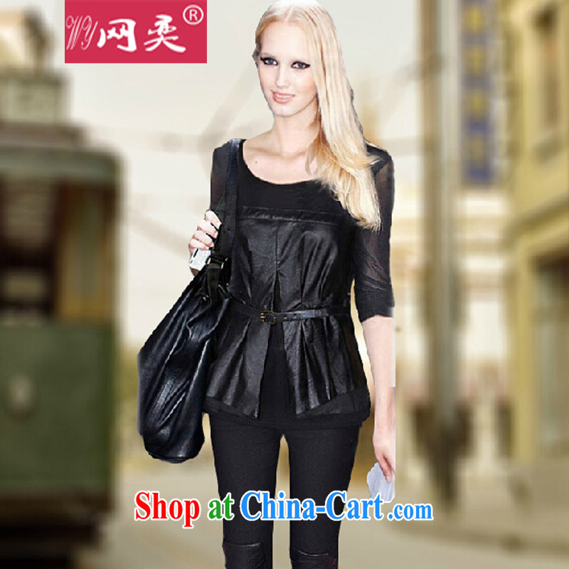 The European spring loaded new long-sleeved T-shirt in Europe and America, the female loose video thin PU leather stitching solid T pension thick clothes _1860 black 1860 _185 - 205 about Jack