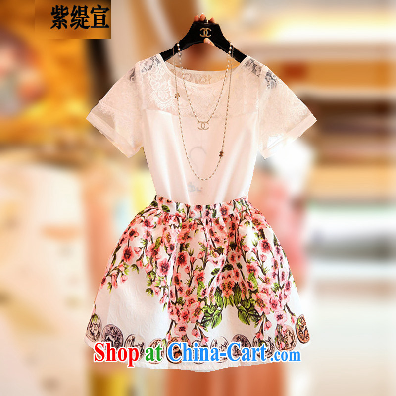 first economy in Europe and declared the code female summer new two-piece sweet dress short-sleeved lace snow woven shirts T-shirt + stamp short skirt 7163 _3 XL 150 - 160 Jack left and right
