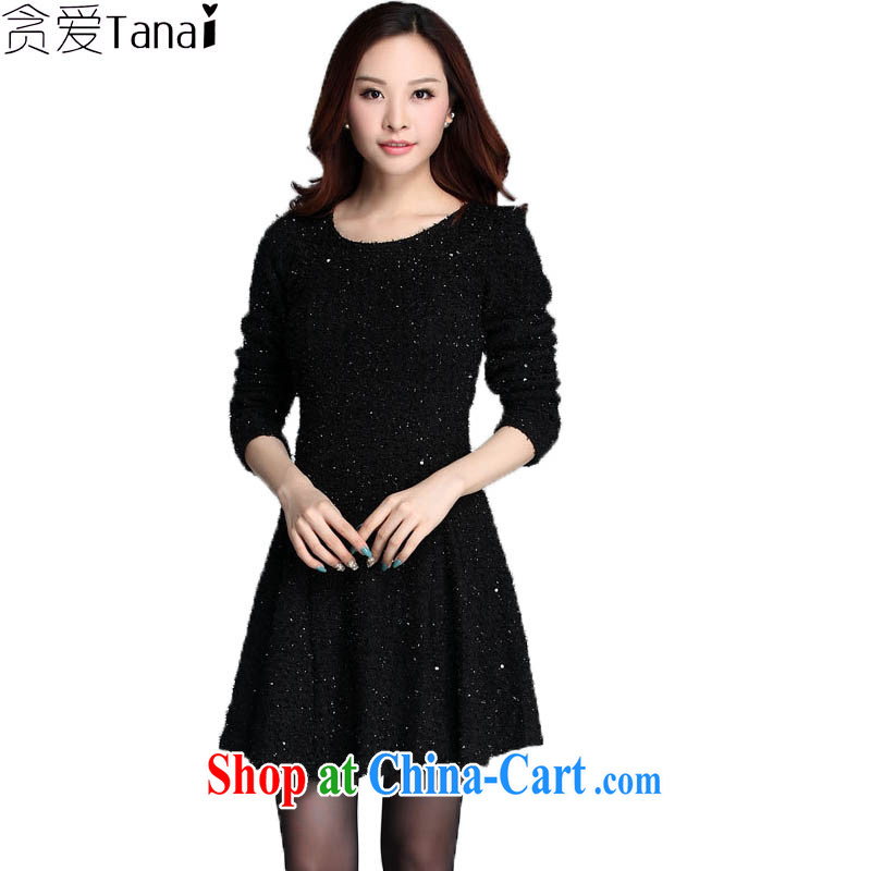Loved spring new-waist long-sleeved lace-mm thick and indeed increase, women dress 3573 black XXXXL
