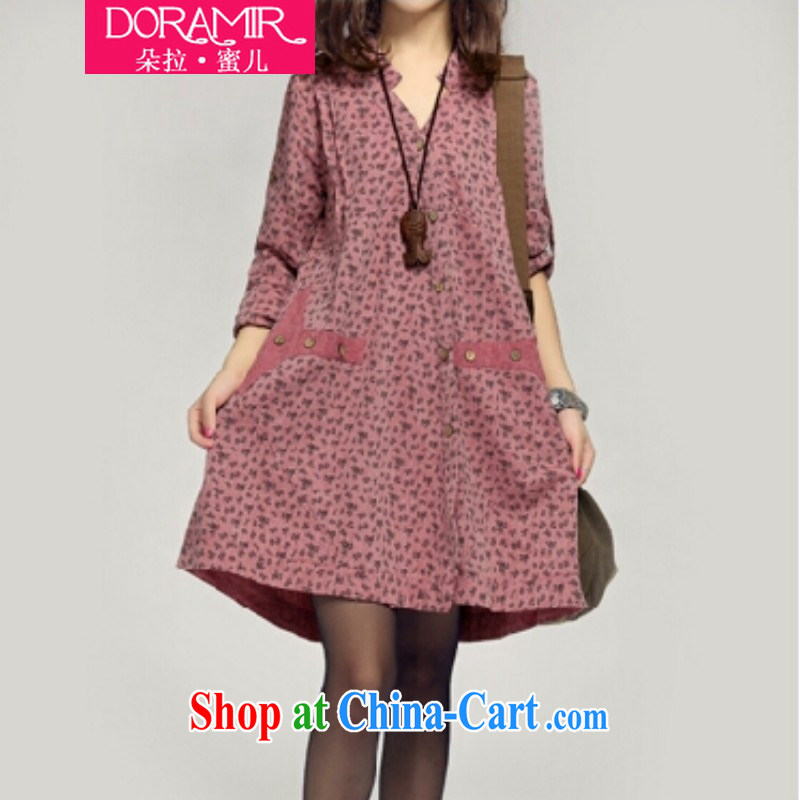 Dora, honey Child Care 2015 spring new female Korean loose the code thick MM pregnant women with cotton the long-sleeved dress 3566996 rubber red XXL