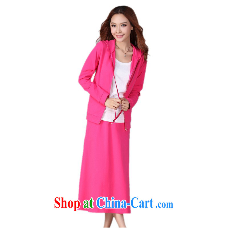 The delivery package as soon as possible by the hypertrophy, female Korean two-piece long skirt package leisure sport sweater cap jacket body skirt red 4 XL approximately 175 - 185 jack