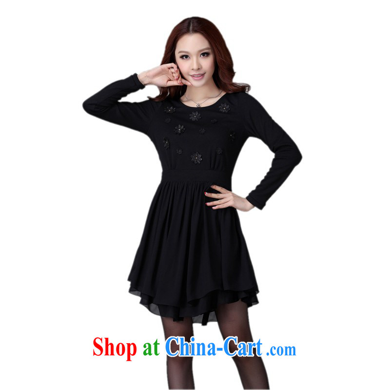 The delivery package as soon as possible by the hypertrophy, ladies dress simple beauty flowers long-sleeved solid skirt large irregular skirt video thin OL short skirt black 4XL approximately 185 - 200 jack