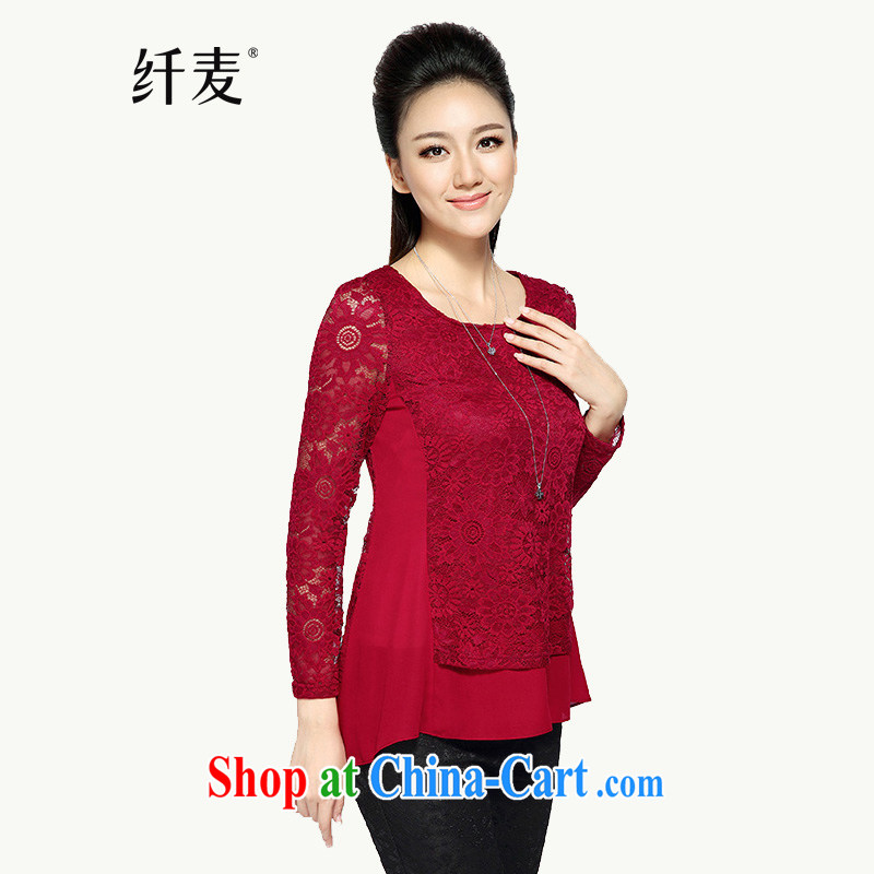 Slim, Mr Big, women fall 2014 new women thick mm larger lace snow woven loose the code t-shirt solid shirt 43,392 red 6 XL