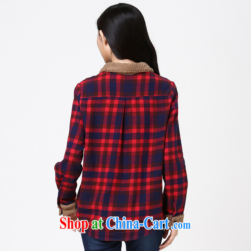 Water of Korean version of the greater code female cotton checkered shirt early autumn 2014 new sweet long-sleeved shirt S DC 14 4258 blue and red grid L, water itself (SHUIMIAO), online shopping