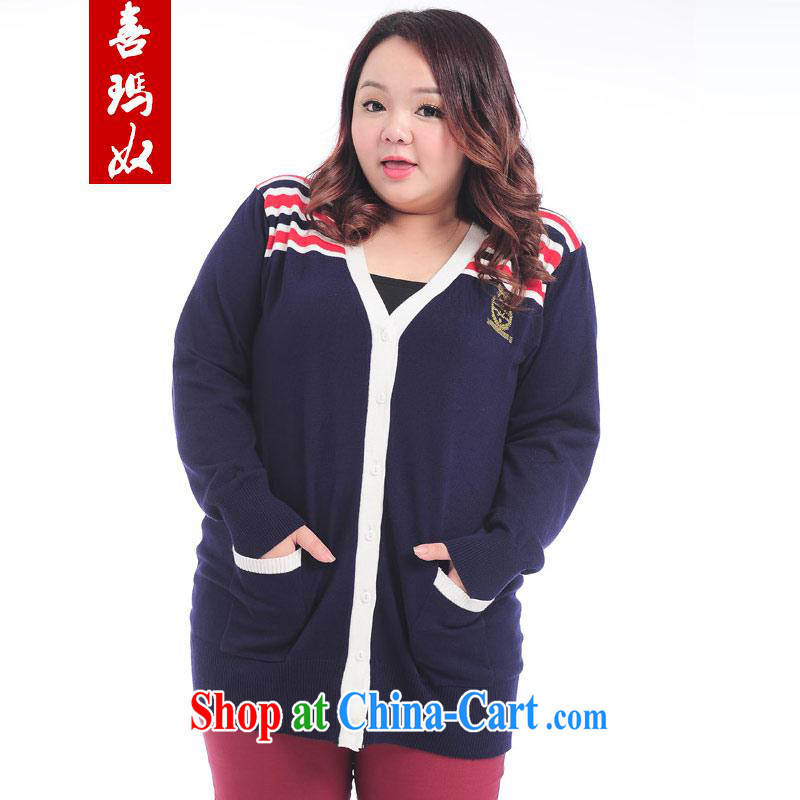 Hi Margaret slavery summer new ultra large code 200 Jack loose knitting knitting cardigan V collar, jacket casual jacket A 10,959 Tibetan large blue code are code 150 - 250 jack wear