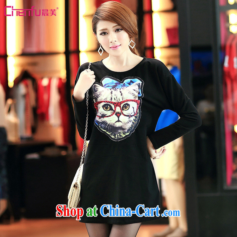 Morning would be 2015 spring new Korean version is indeed the XL female 200 Jack mm thick stylish kitten stamp loose video thin long-sleeved dress black large code 5 XL