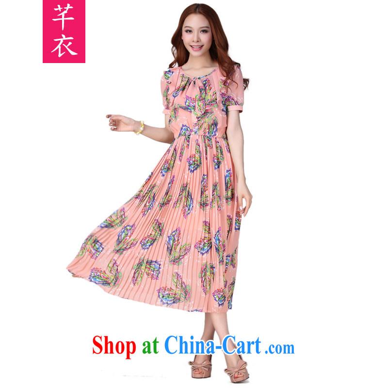 Constitution Yi XL dresses 2015 summer new bohemian floral long skirt high stamp duty short-sleeve snow woven long skirt the code mm thick resort beach skirt orange spend 4 XL 155 - 170 jack