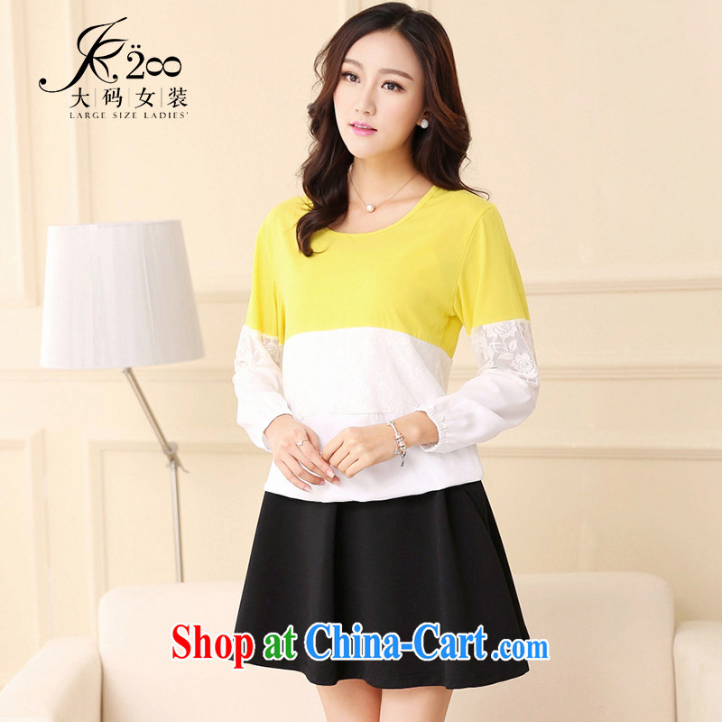 JK .,200 Spring and Autumn new larger female Korean lady loose video thin long-sleeved shirt T TA 1430008 yellow 4 XL