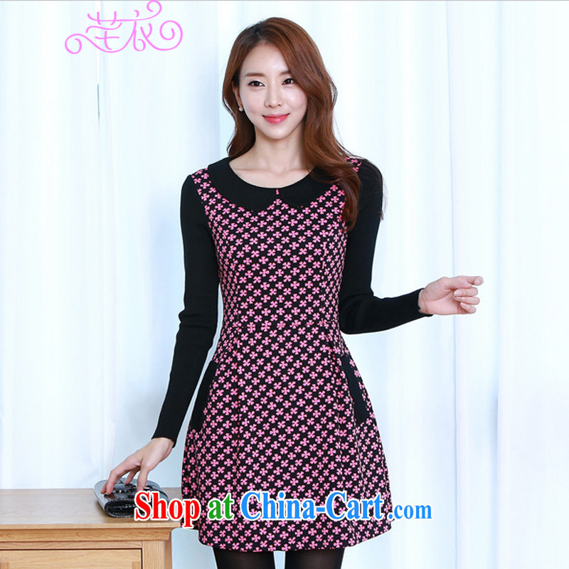 Constitution, thick, XL women 2015 spring loaded Korean version of the new paragraph 4, Mr D. graphics thin knocked color ribbed thick MM-elegant OL long-sleeved dresses red L