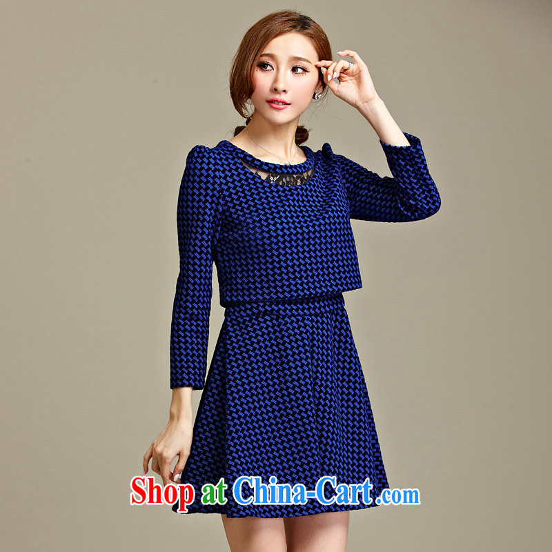 Cross-sectoral expertise of autumn MM loading new code female American and European grid thick sister graphics thin false 2 long-sleeved dresses Item No. 2227 blue 5 XL