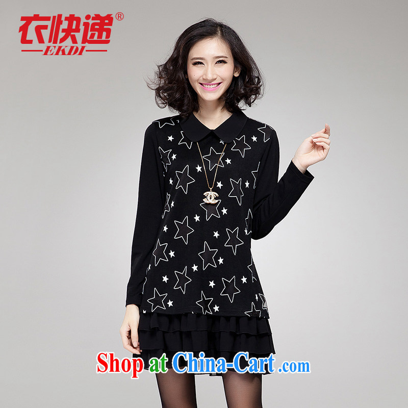 Yi express fall 2014 replace the code mm thick graphics Thin women Korean Stamp Duty 5 star dresses long-sleeved E 2045 black 4XL